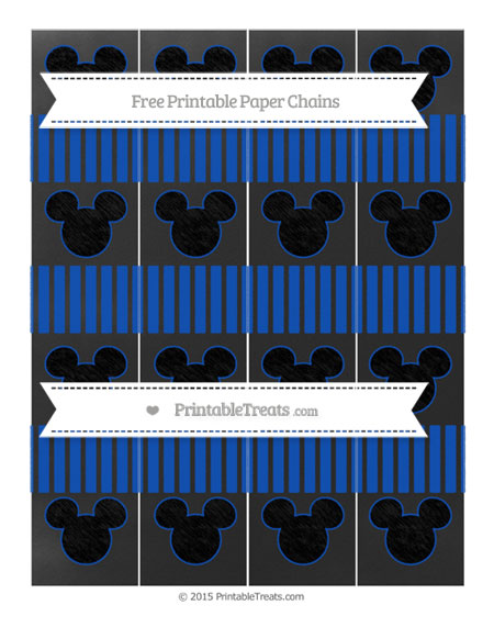 Free Sapphire Blue Thin Striped Pattern Chalk Style Mickey Mouse Paper Chains