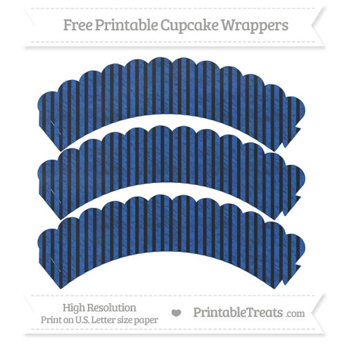 Free Sapphire Blue Thin Striped Pattern Chalk Style Scalloped Cupcake Wrappers