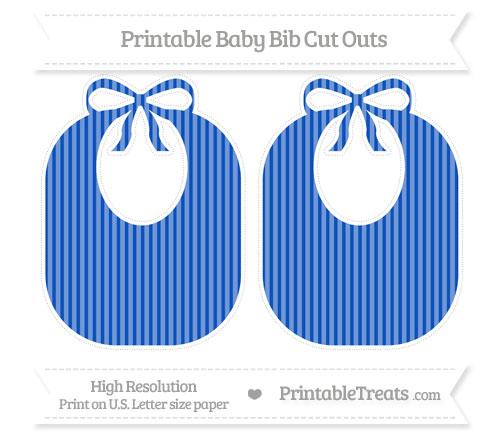 Free Sapphire Blue Thin Striped Pattern Large Baby Bib Cut Outs