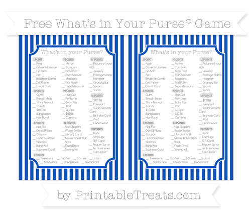 Free Sapphire Blue Thin Striped Pattern What's in Your Purse Baby Shower Game