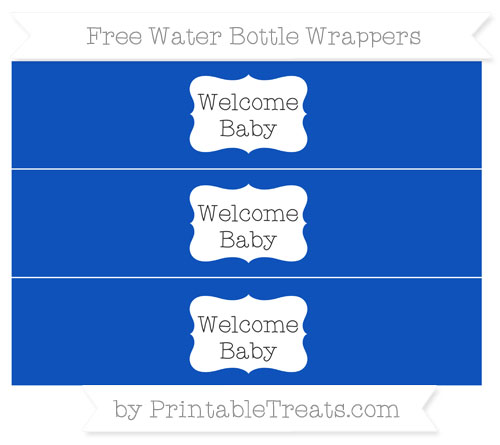 Free Sapphire Blue Welcome Baby Water Bottle Wrappers