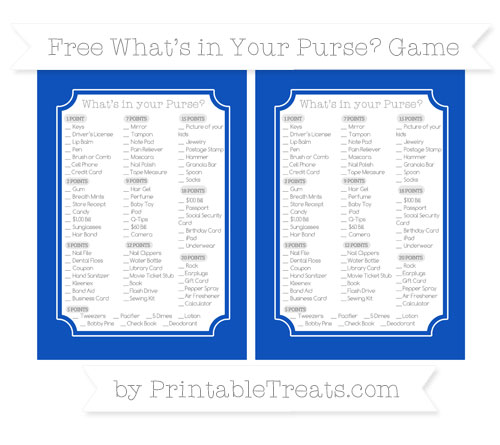 Free Sapphire Blue What's in Your Purse Baby Shower Game