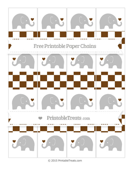 Free Sepia Checker Pattern Baby Elephant Paper Chains