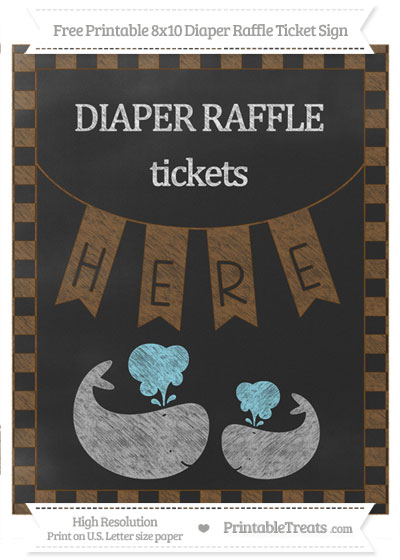 Free Sepia Checker Pattern Chalk Style Baby Whale 8x10 Diaper Raffle Ticket Sign