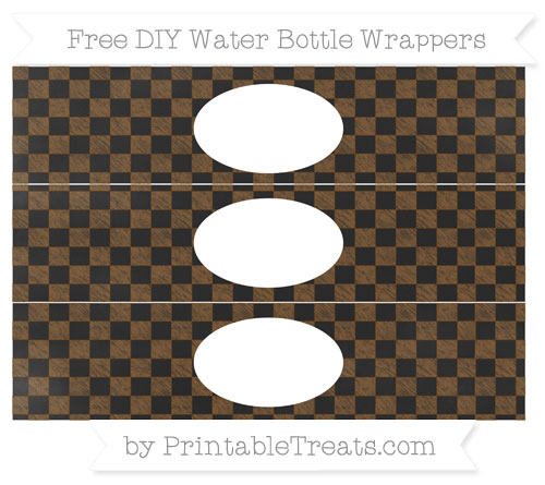 Free Sepia Checker Pattern Chalk Style DIY Water Bottle Wrappers