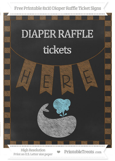 Free Sepia Checker Pattern Chalk Style Whale 8x10 Diaper Raffle Ticket Sign