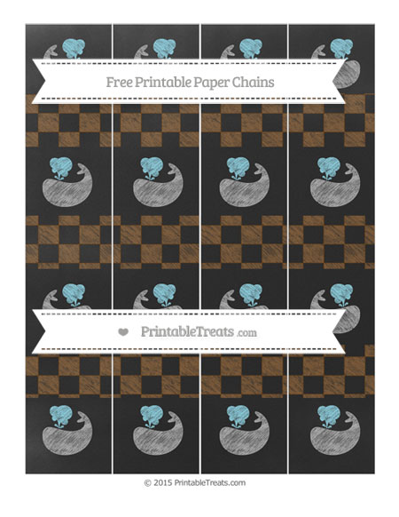 Free Sepia Checker Pattern Chalk Style Whale Paper Chains