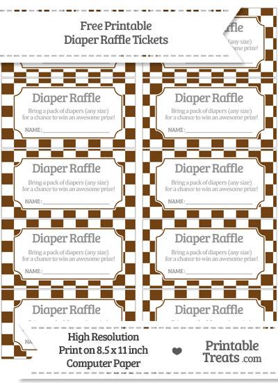 Free Sepia Checker Pattern Diaper Raffle Tickets