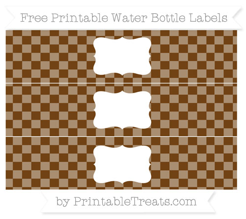 Free Sepia Checker Pattern Water Bottle Labels