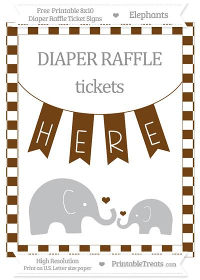 Free Sepia Checker Pattern Elephant 8x10 Diaper Raffle Ticket Sign