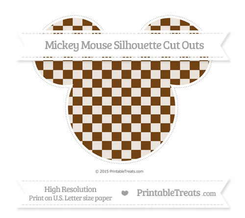 Free Sepia Checker Pattern Extra Large Mickey Mouse Silhouette Cut Outs