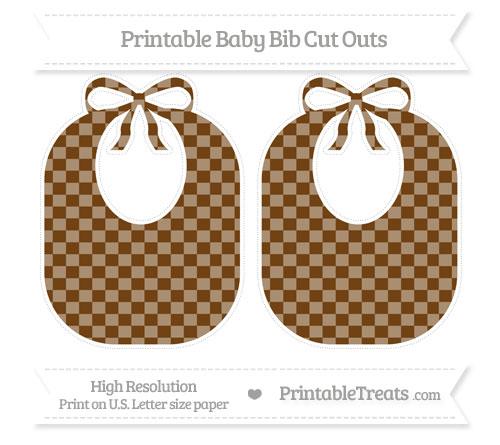 Free Sepia Checker Pattern Large Baby Bib Cut Outs