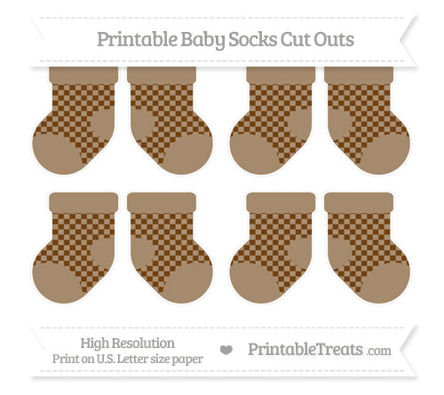 Free Sepia Checker Pattern Small Baby Socks Cut Outs
