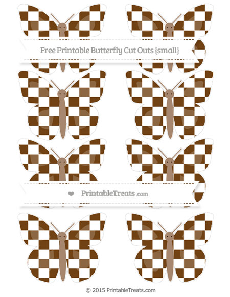 Free Sepia Checker Pattern Small Butterfly Cut Outs