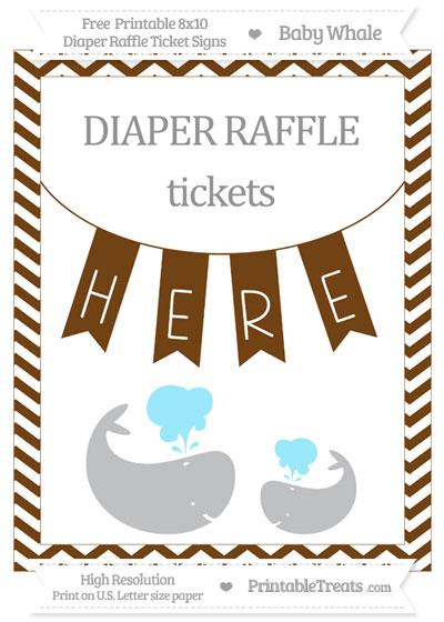 Free Sepia Chevron Baby Whale 8x10 Diaper Raffle Ticket Sign