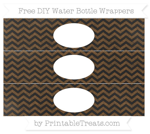 Free Sepia Chevron Chalk Style DIY Water Bottle Wrappers