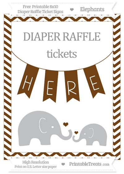 Free Sepia Chevron Elephant 8x10 Diaper Raffle Ticket Sign