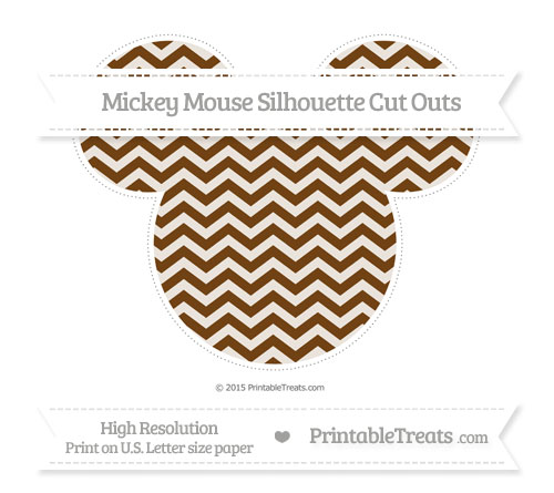 Free Sepia Chevron Extra Large Mickey Mouse Silhouette Cut Outs