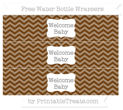 Free Sepia Chevron Welcome Baby Water Bottle Wrappers