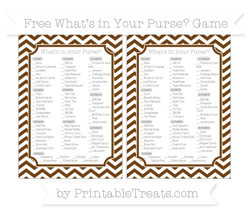 Free Sepia Chevron What's in Your Purse Baby Shower Game