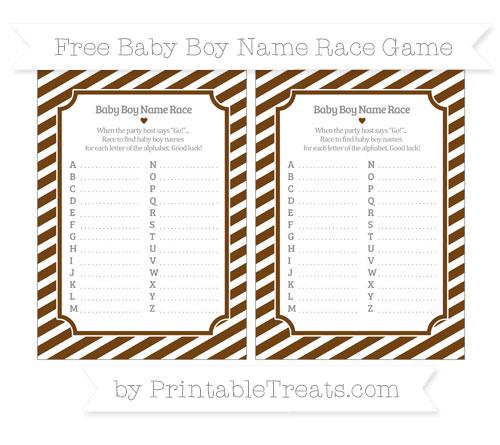 Free Sepia Diagonal Striped Baby Boy Name Race Game