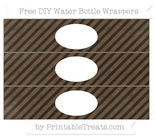 Free Sepia Diagonal Striped Chalk Style DIY Water Bottle Wrappers