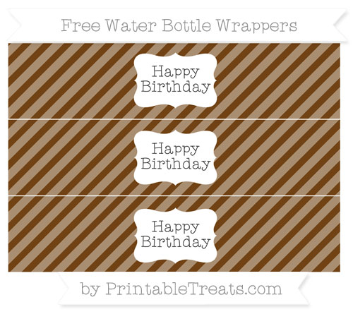 Free Sepia Diagonal Striped Happy Birhtday Water Bottle Wrappers