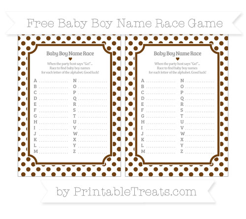 Free Sepia Dotted Pattern Baby Boy Name Race Game