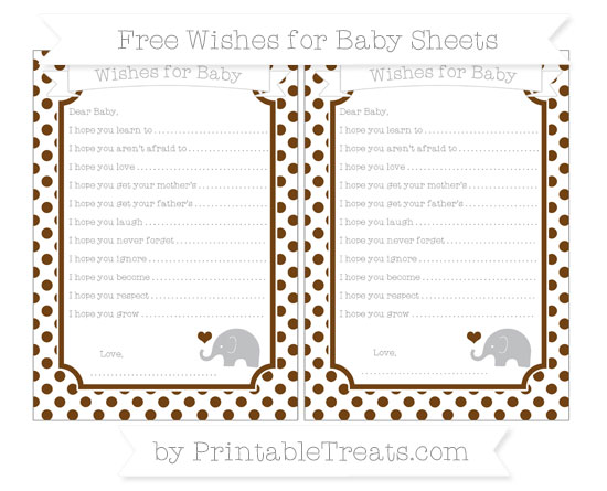 Free Sepia Dotted Pattern Baby Elephant Wishes for Baby Sheets