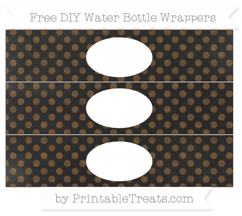 Free Sepia Dotted Pattern Chalk Style DIY Water Bottle Wrappers