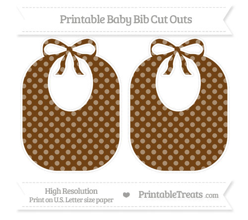 Free Sepia Dotted Pattern Large Baby Bib Cut Outs