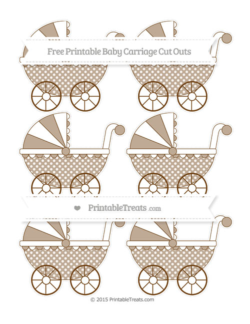Free Sepia Dotted Pattern Small Baby Carriage Cut Outs