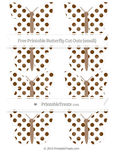 Free Sepia Dotted Pattern Small Butterfly Cut Outs