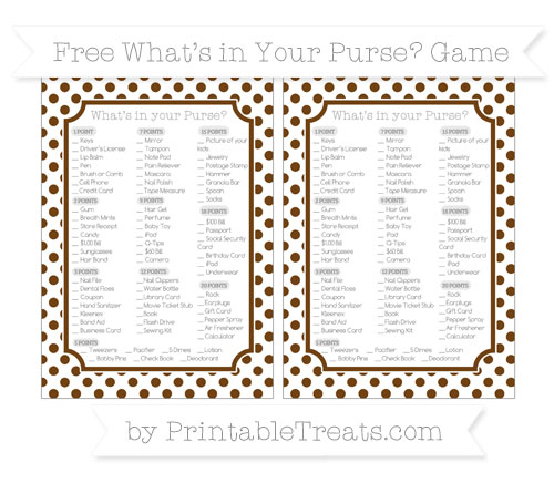 Free Sepia Dotted Pattern What's in Your Purse Baby Shower Game