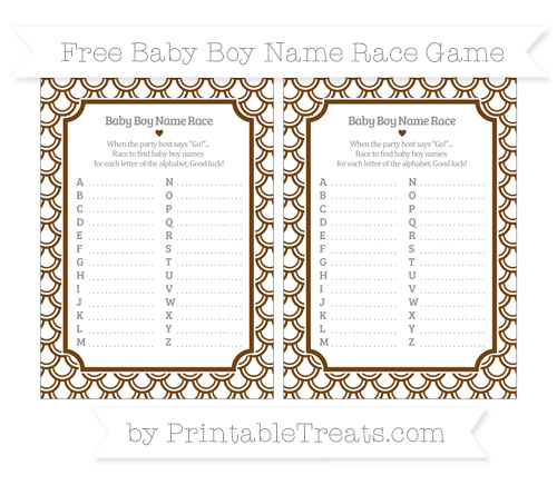Free Sepia Fish Scale Pattern Baby Boy Name Race Game