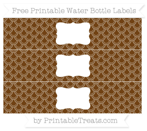 Free Sepia Fish Scale Pattern Water Bottle Labels