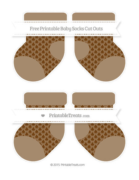 Free Sepia Fish Scale Pattern Medium Baby Socks Cut Outs