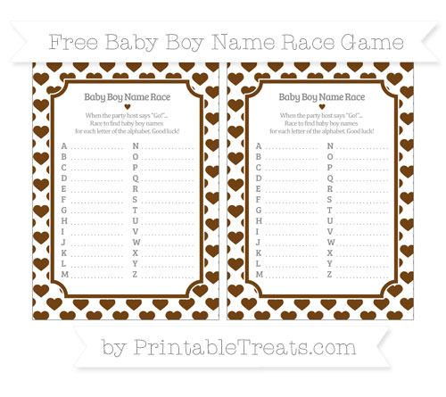 Free Sepia Heart Pattern Baby Boy Name Race Game