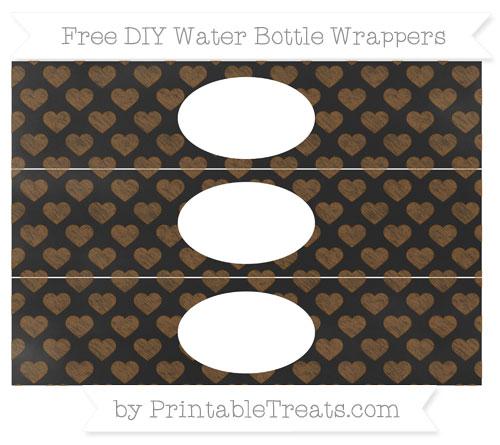 Free Sepia Heart Pattern Chalk Style DIY Water Bottle Wrappers