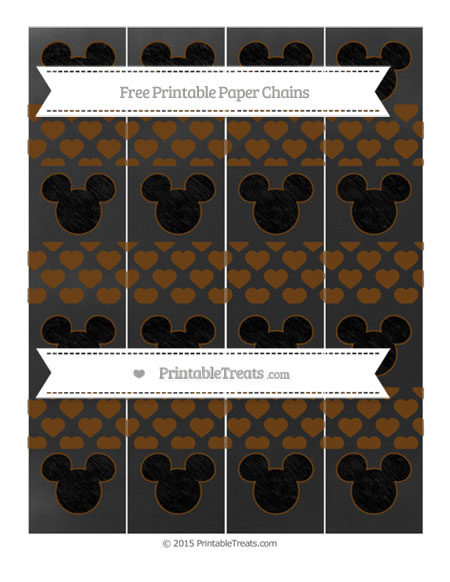 Free Sepia Heart Pattern Chalk Style Mickey Mouse Paper Chains