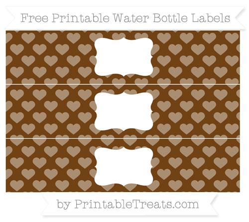 Free Sepia Heart Pattern Water Bottle Labels