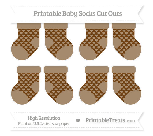 Free Sepia Heart Pattern Small Baby Socks Cut Outs