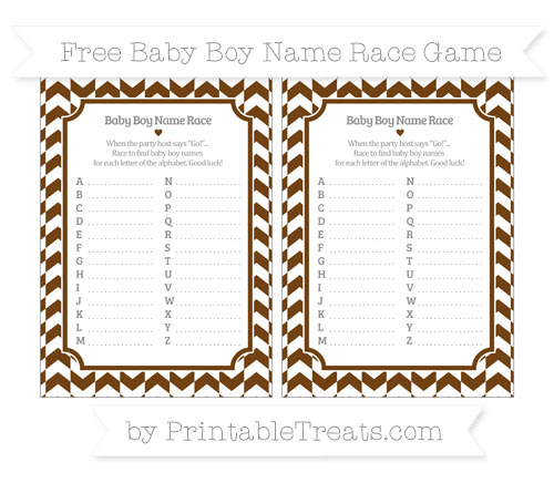 Free Sepia Herringbone Pattern Baby Boy Name Race Game