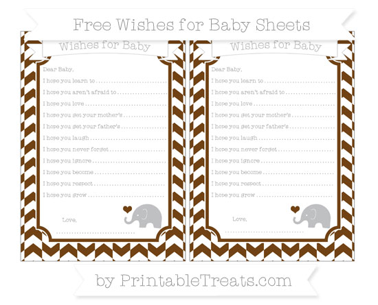 Free Sepia Herringbone Pattern Baby Elephant Wishes for Baby Sheets