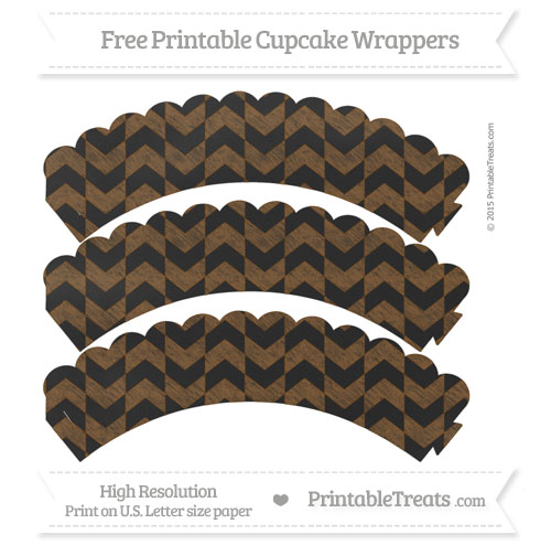 Free Sepia Herringbone Pattern Chalk Style Scalloped Cupcake Wrappers