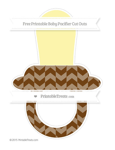 Free Sepia Herringbone Pattern Extra Large Baby Pacifier Cut Outs