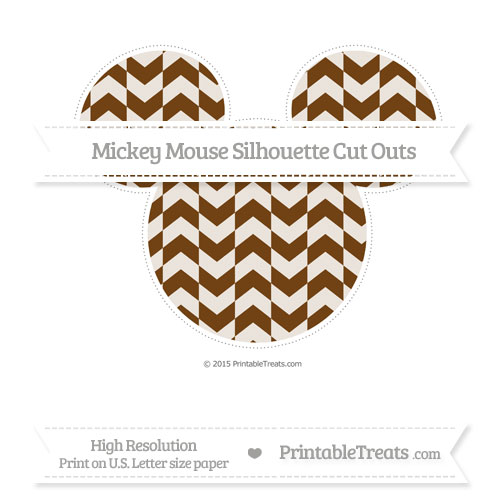 Free Sepia Herringbone Pattern Extra Large Mickey Mouse Silhouette Cut Outs