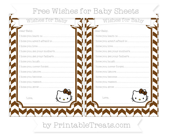 Free Sepia Herringbone Pattern Hello Kitty Wishes for Baby Sheets