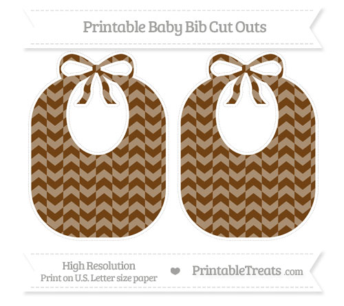 Free Sepia Herringbone Pattern Large Baby Bib Cut Outs