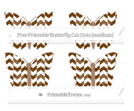 Free Sepia Herringbone Pattern Medium Butterfly Cut Outs